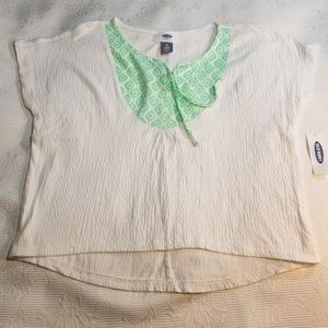Childrens Green and White Top